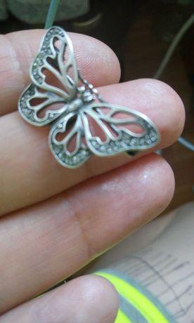 Брошь серебро бабочка 3 х 4 см