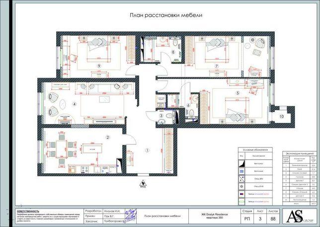 Дизайн интерьера. Тех. проект 2000/кв.м