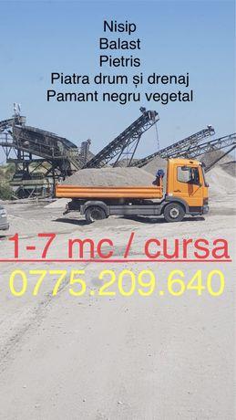 Vand Transport nisip pietris drum balastru piatra pamant negru padure