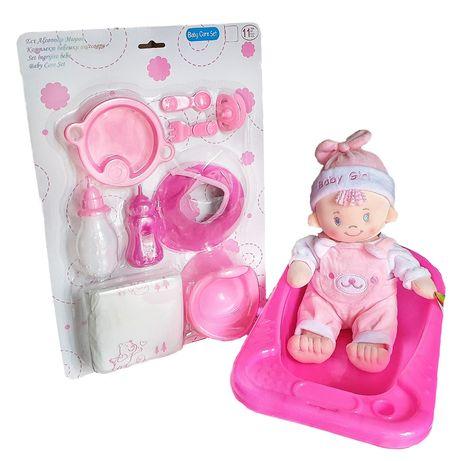 Bebelus plus cu accesorii de ingrijire si cadita de baie, cu scutece