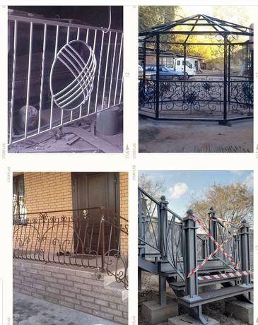 Железные решетки. Навесы . Двери. Пластиковые окна