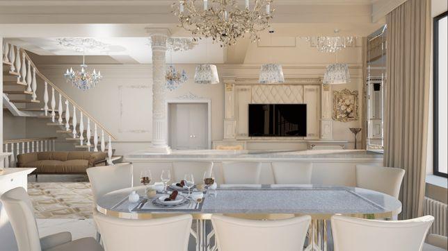 Эксклюзивный дизайн интерьера квартиры и дома, кафе и офиса, план 3D
