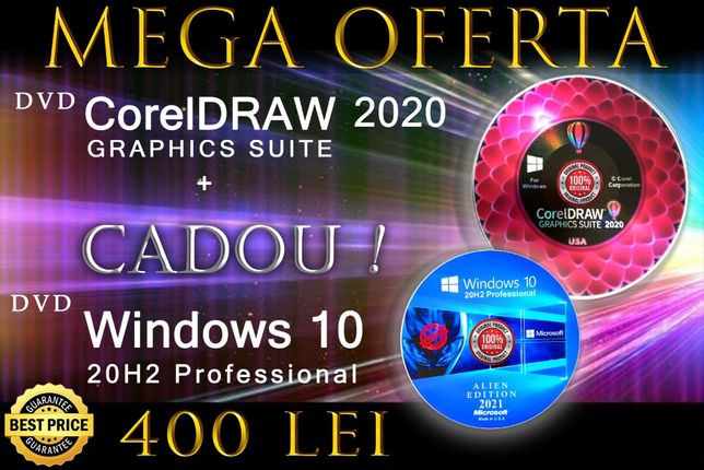 CorelDRAW 2020-3 Licente Perm. CADOU Windows 10 PRO 20H2-DVD -SIGILATE