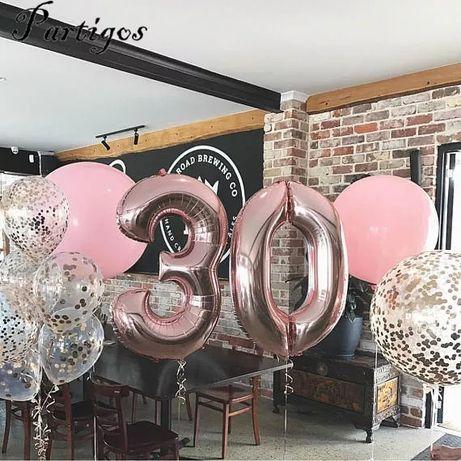 Balon numar aniversare eveniment baloane rose gold roz auriu 82 cm noi