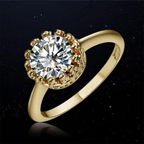 GR282,inel placat aur 18k, model logodna, zirconiu alb fatetat
