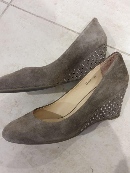 Обувки Massimo Zardi.Черни обувки.Розови еспадрили.Мокасини в златисто