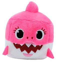 Jucarie de plus muzicala Baby Shark, roz - multicolor, inaltime 8 cm