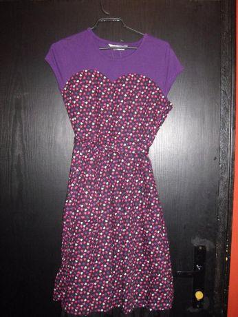 Памучна лилава детска рокля с къс ръкав, 12 - 13 години