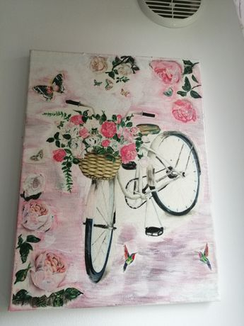 Tablou bicicleta canvas tehnica servetel