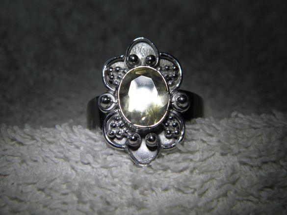 Уникален сребърен пръстен с прекрасен цитрин