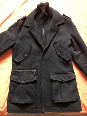 Palton casual cu nasturi și fermoar
