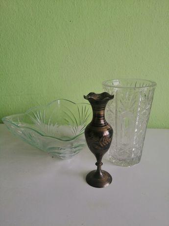 Ретро кристална ваза, кристална купа и метална ваза