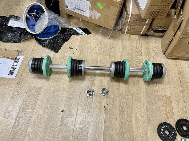 Set gantere reglabile cu legatura de haltera 35 kg total 17,5+17,5 kg