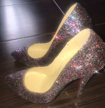 Pantofi din piele cu glitter mov