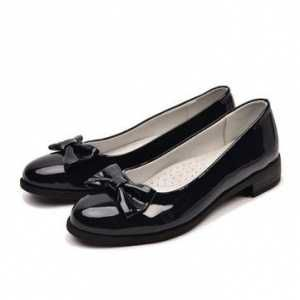 школьные Туфли лаковые с бантиком кожаные стельки синие туфли 34-36