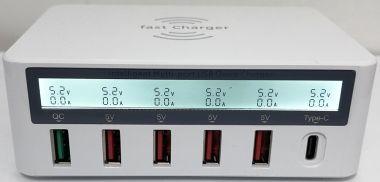 Incarcator wireless, 220V → 5V/8A, 6 iesiri, Type-c, 1x (Quick Charge