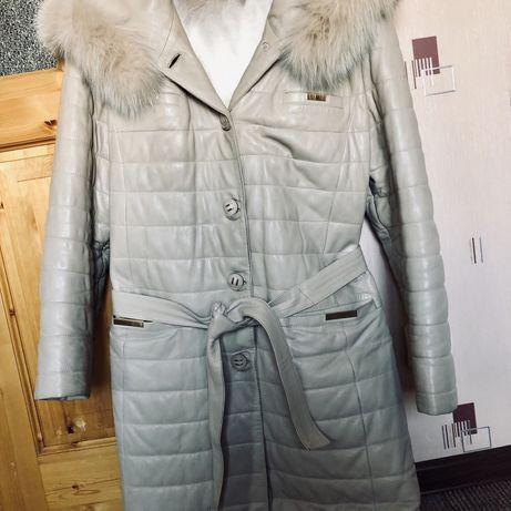 Кожаное утепленое пальто натуралка