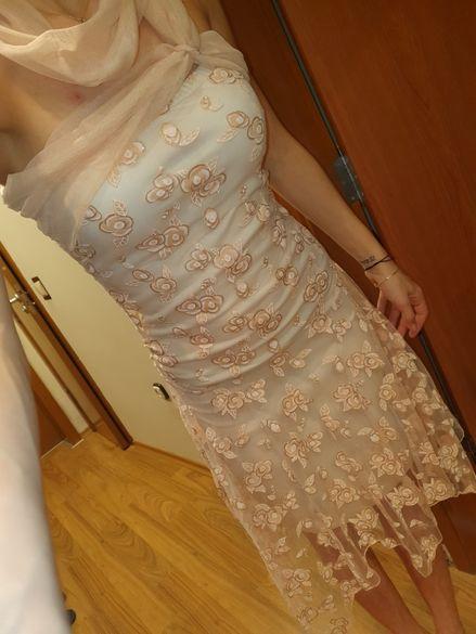 Уникална рокля цвят екрю