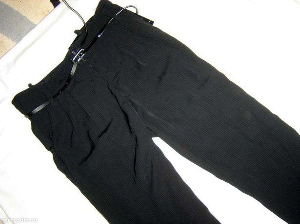 pantaloni eleganti dama, largi, negri cu dungi albe fine, 34 si 38,NOI