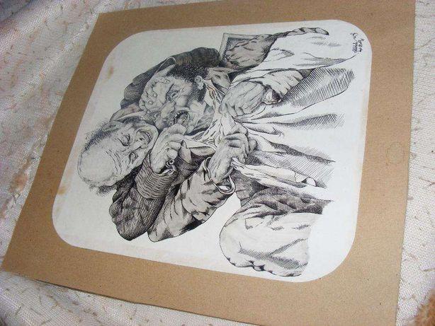 Tablou caricatura,gravura veche dentisti ,tablou 1983,Poslolache Boill