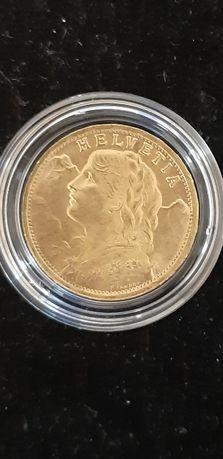Златна монета 20 швейцарски франка Вренели, 1935 г., 6,45 г