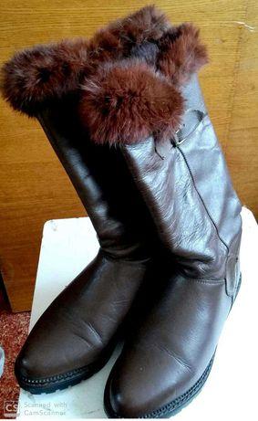сапоги женские зимние, Италия, кожа и натуральный мех, 36 размер