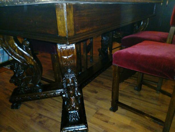 Masa antica lemn masiv+scaune Renastere florentina sculptate