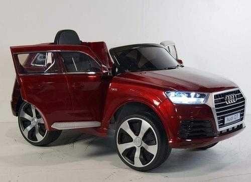 Акумулаторен джип Audi Q7 12V, меки гуми, кожена седалка, металик боя