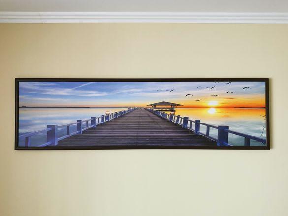 Картина 40*150 в рамката Залез на морето