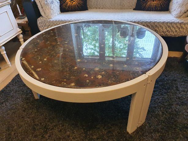 Masa rotunda de cafea - lemn si marmura 105cm - schimb