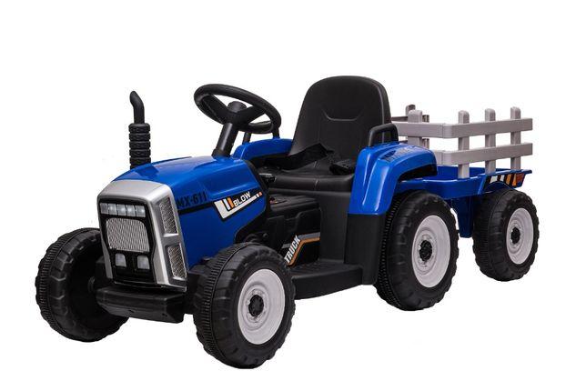 Tractor electric pentru copii BJ611 70W cu Remorca inclusa #Albastru