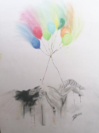 Картина (направена със сух пастел, акрилна боя)