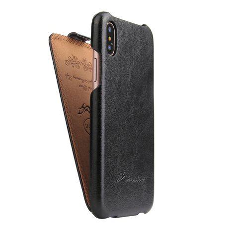 Husa iPhone XS Max piele fina CaseMe, flip cover vertical,negru,cognac