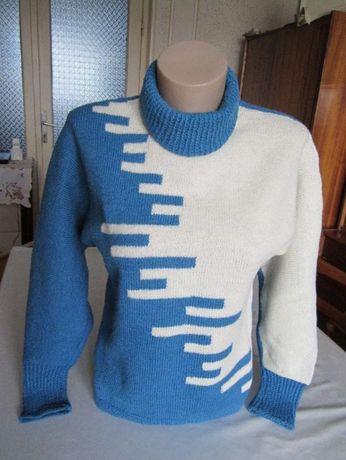 Pulover handmade albastru/alb marime 42/44 + bonus