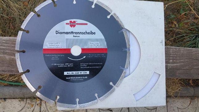 Disc nou diamantat WURTH pentru tăiere uscata sau umeda Beton 230 mm