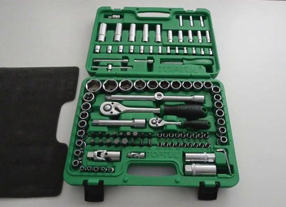Комплект инструменти TOPTUL - тресчотки и вложки 108 броя