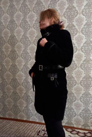 Мутон шуба-пальто, в черном  цвете!