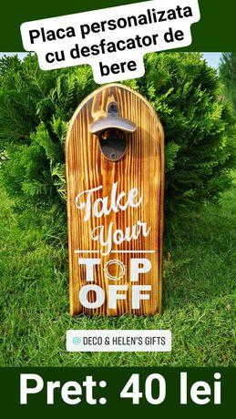 Placa lemn personalizata cu desfacator de bere