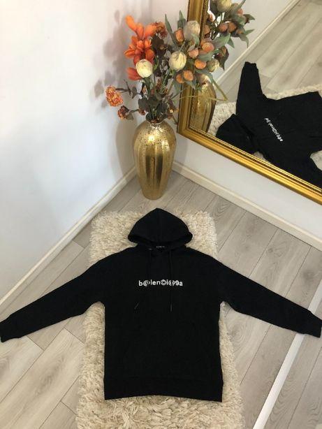 hanorac hoodie Balenciaga colectia noua TOP bleu/negru bumbac 100%