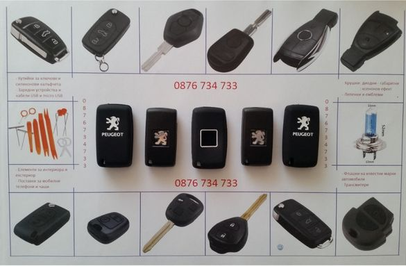 Кутийка за ключ на Пежо+ЛОГО кейс 2 или 3 бутона