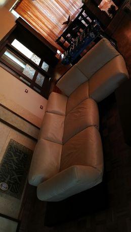 Canapea coltar extensibila ca noua piele naturala si lemn