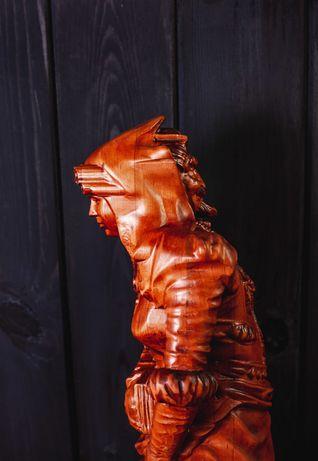 Луксозна голяма фигура с две лица дърворезба скулптура декорация Дърво