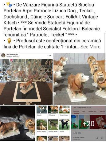 """Statuetă Figurină Bibelou Porțelan Arpo """" Patrocle Teckel Dachshund """""""