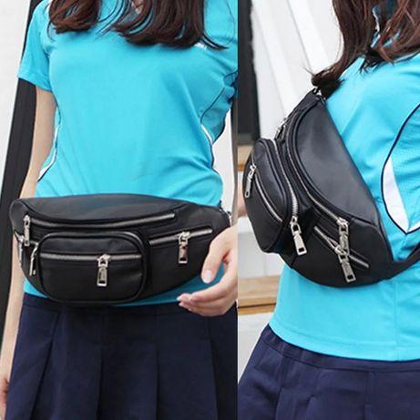 Новая сумка поясная унисекс большая и модная черная ЭКО кожа