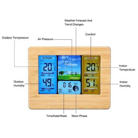 Statie meteo interior/exterior, wireless, afisare calendar, umiditate