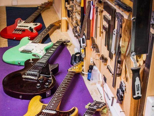 Ремонт, реставрация и доводка акустических гитар и электрогитар.