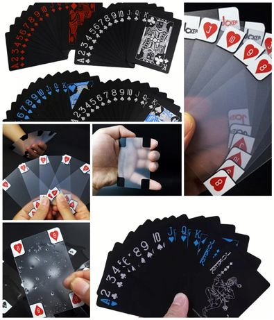 ЧЕРНИ  и Прозрачни PVC пластмасови водоустойчиви карти за покер