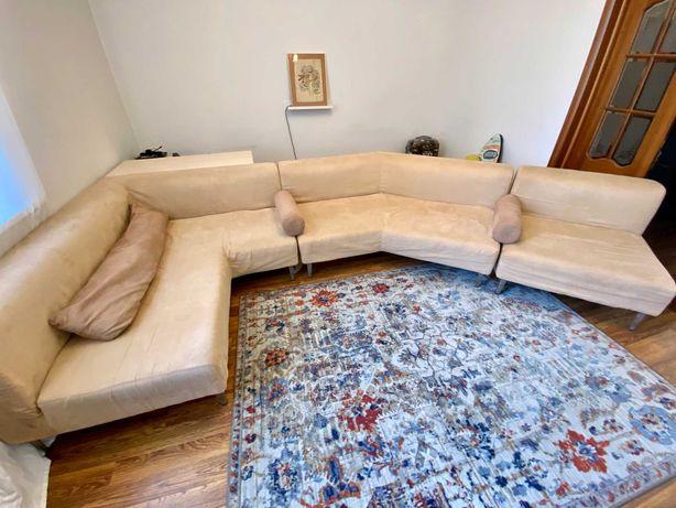 Модульный диван с углом 135, три части, белый шоколад, велюр