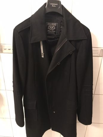 Okz Palton designer Zu Elemets, marime 52, original 100%, negru, lana
