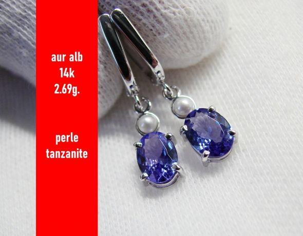 Unicat Cercei Aur Alb 14K Cu Perle Si Tanzanite